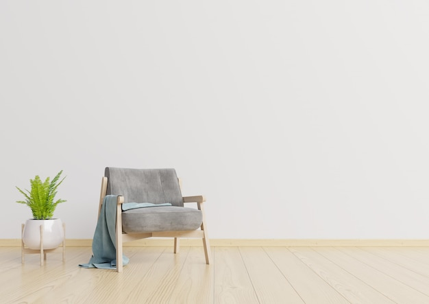 The interior has a armchair and lamp on empty white wall background