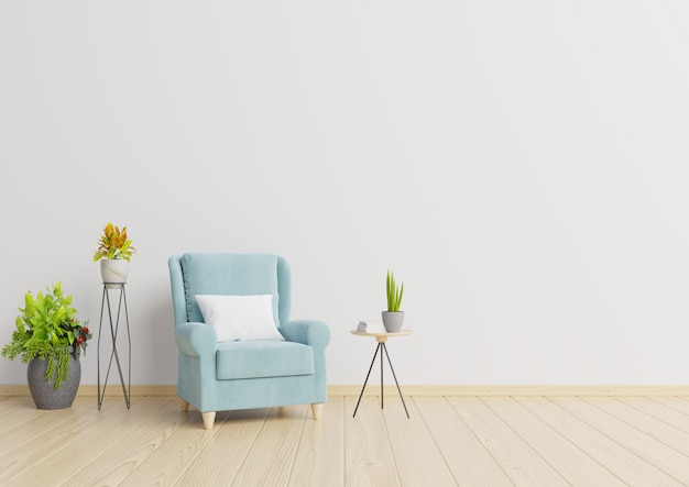 The interior has a armchair and plants on empty white wall background