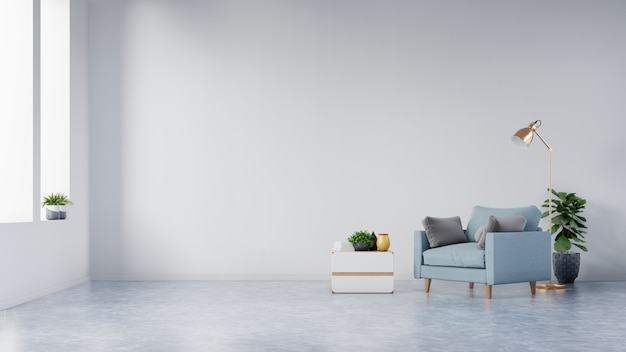 The interior has a armchair and plants on empty white wall.