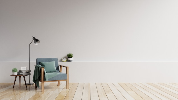 The interior has a armchair with white empty mockup wall and beige armchair.