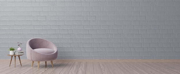 The interior has a pink armchair with dark empty mockup wall and beige armchair.