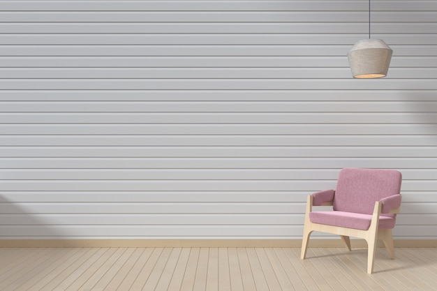 The interior has a pink sofa and hang lamp on empty white wall background,