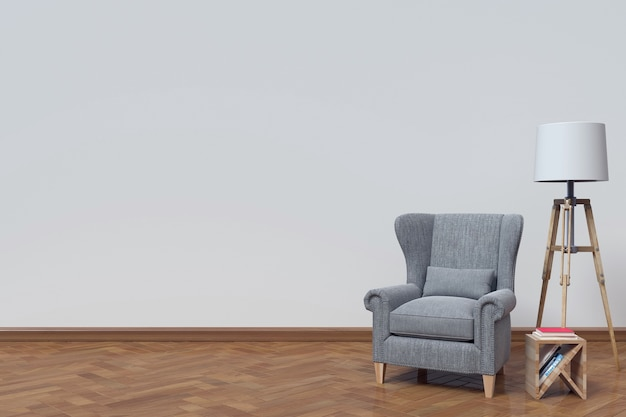 The interior has a sofa and book on white wall background,3d rendering