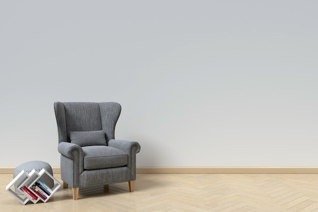 The interior has a sofa and book on white wall background