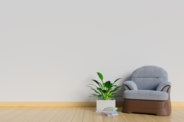 The interior has a sofa and plants on empty white wall background
