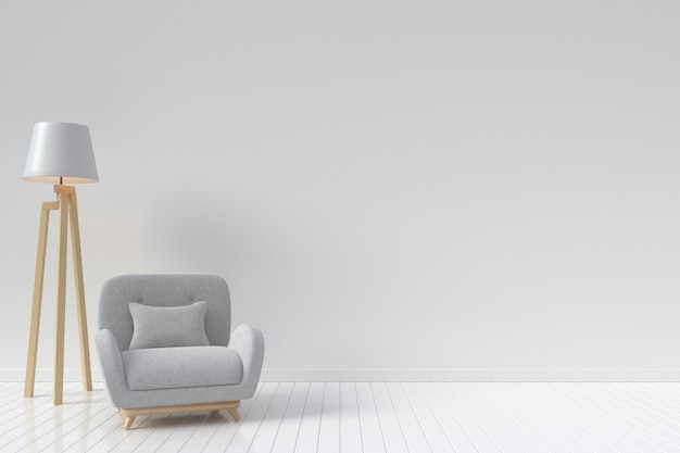 The interior has a vertical circular sofa and lamp on empty white wall background