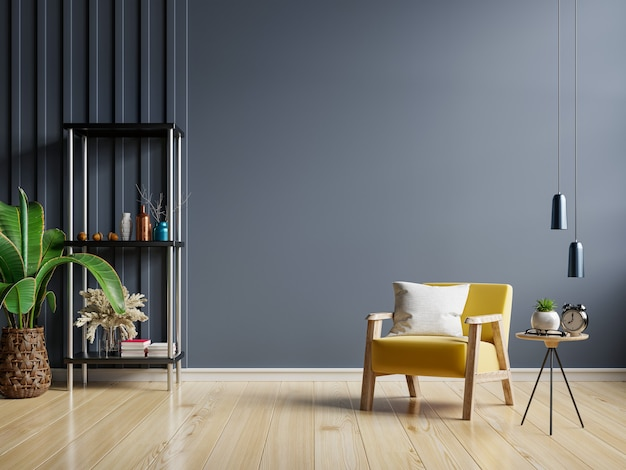 The interior has a yellow armchair on empty dark wall background,3d rendering