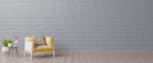 The interior has a yellow armchair with dark empty mockup wall and beige armchair.