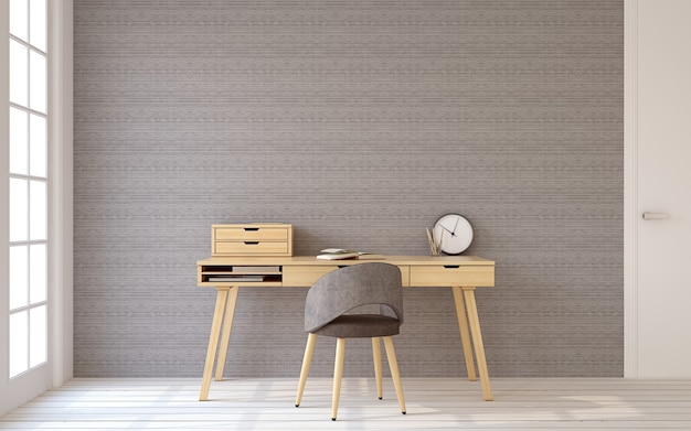 Interior of home office in scandinavic style. 3d render.