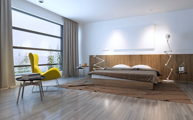Interior of a hotel bedroom in the morning. 3d render