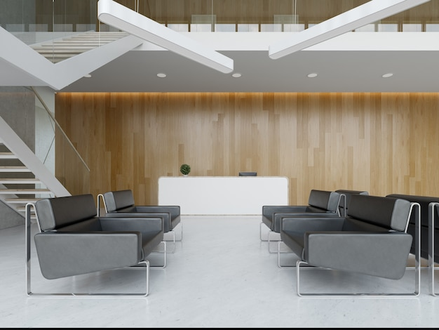 Interior of a hotel office lobby spa reception 3 d illustration