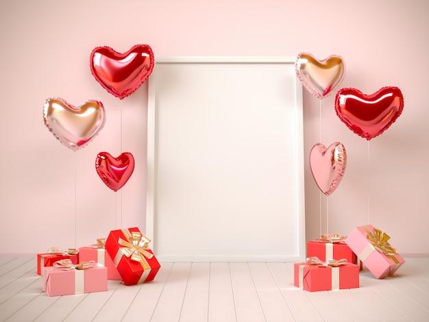 선물, 하트 모양의 풍선 및 프레임이있는 베이지 색상의 인테리어. 발렌타인 데이, 3d 렌더링 그림.