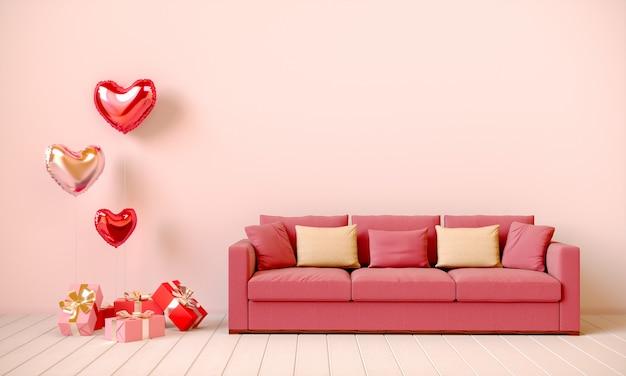 선물, 하트 모양의 풍선, 소파가있는 베이지 톤의 인테리어. 발렌타인 데이, 3d 렌더링 그림.