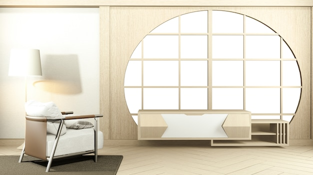 Interior  japan room design japanese-style and the white backdrop provides a window. 3d rendering