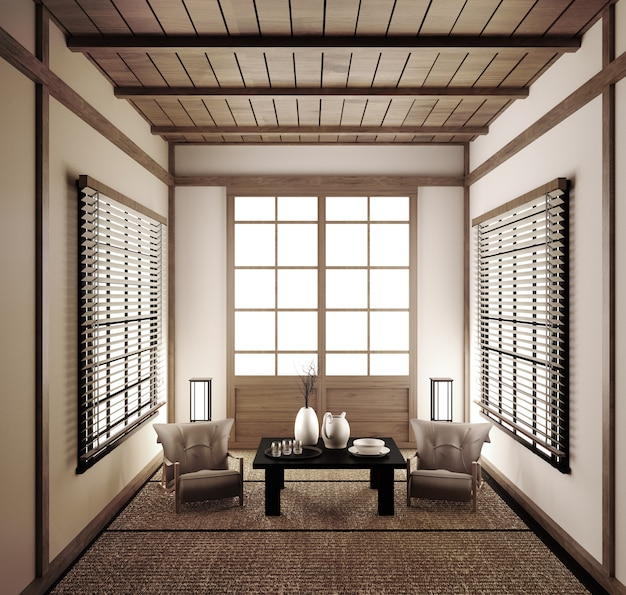 Interior japanese empty room tatami mat designing the most beautiful. 3d rendering