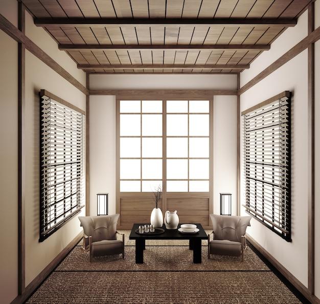 Interior japanese empty room tatami mat designing the most beautiful. 3d rendering