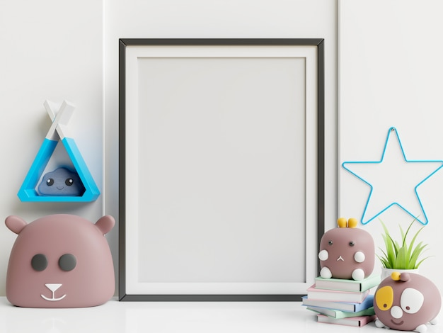 Manifesto e giocattoli interni della stanza dei bambini nella stanza di bambino.