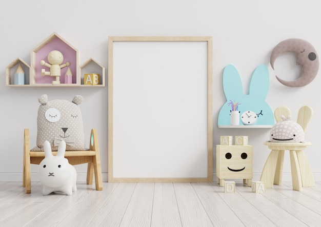 인테리어, 어린이 방, 벽 빈 프레임.