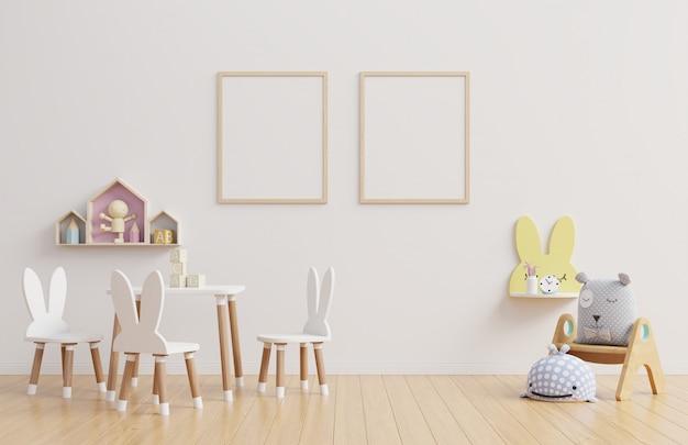 인테리어, 어린이 방, 벽 프레임.