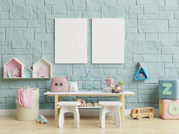 子供部屋のインテリアの子供部屋の壁紙/モックアップのポスターのインテリア。
