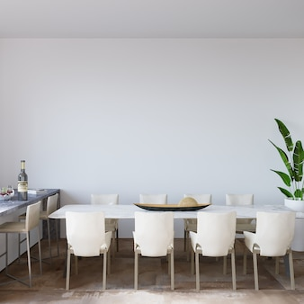 Interior of a kitchen room in front of the white wall