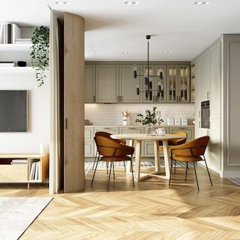 Interior of a kitchen. studio apartment. 3d rendering.