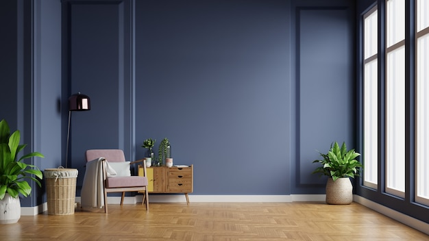 Interior of light room with armchair on empty dark blue wall background,3d rendering