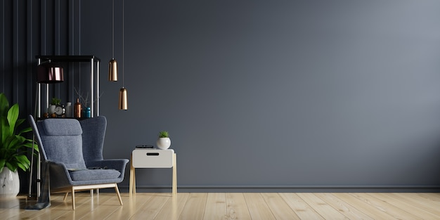 Interior of light room with armchair on empty dark wall background,3d rendering