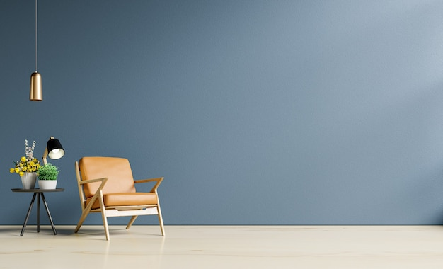 Interior of light room with leather armchair on empty dark blue wall and wood floor,3d rendering
