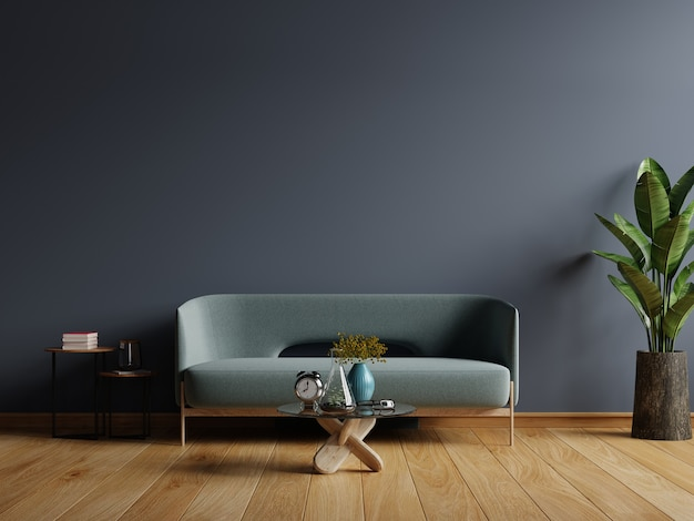 Interior of light room with sofa on empty dark blue wall, 3d rendering