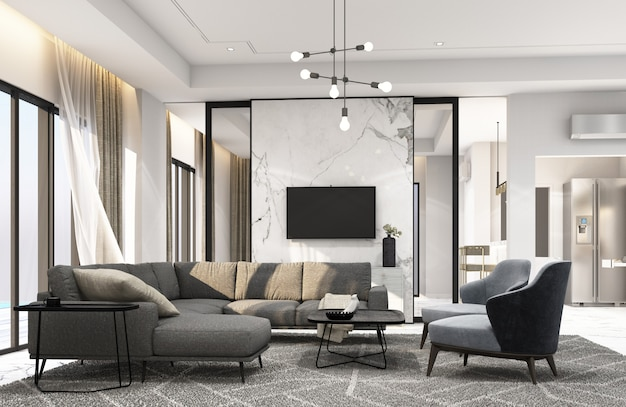 Interior living area in modern luxury style 3d rendering