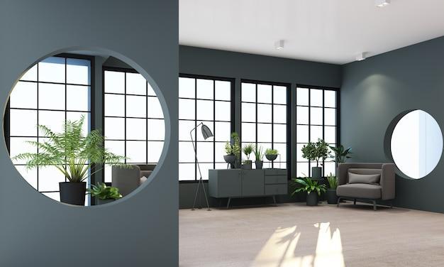 검은 색 프레임 창문과 검은 색 가구 렌더링이있는 인테리어 거실