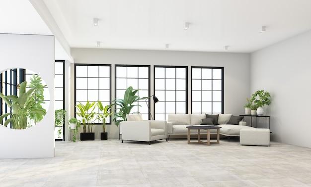 검은 색 프레임 창과 회색 가구 및 녹색 식물 렌더링이있는 실내 거실 공간