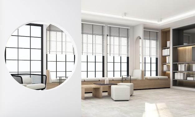 검은 색 프레임 창과 회색 가구 렌더링이있는 인테리어 거실 공간