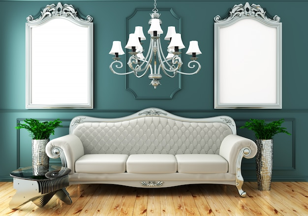 Interior living luxury classic style, decoration green mint wall on wooden floor, 3d rendering