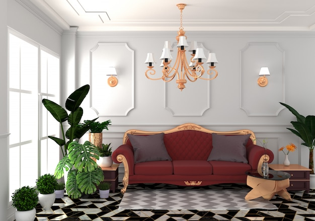 Interior living luxury classic style, decoration white wall on granite tiles, 3d rendering