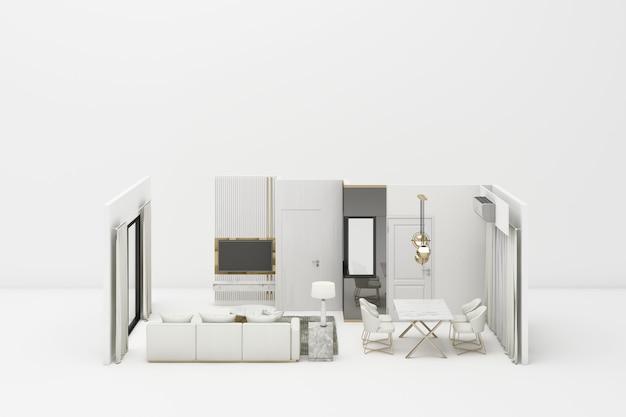 Интерьер живой современный классический стиль с белой мебелью на белом 3d-рендеринга