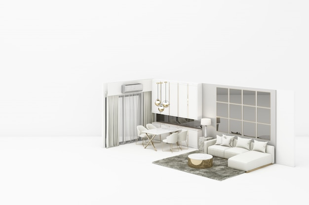 Interior living modern classic style with white furniture on white 3d rendering