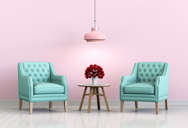 Interior living pink room with armchair and rose.