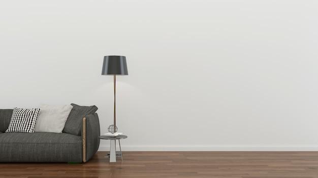 인테리어 거실 회색 소파 현대 벽 나무 바닥 배경