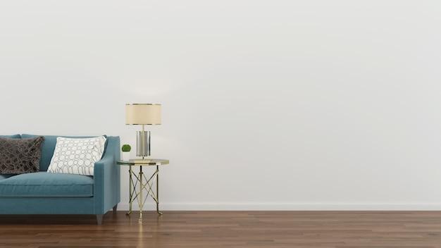 인테리어 거실 녹색 소파 현대 벽 나무 바닥 테이블 램프 배경