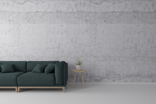 Interior of living room loft style with green fabric sofa, wooden side table with concrete wall on concrete white floor.