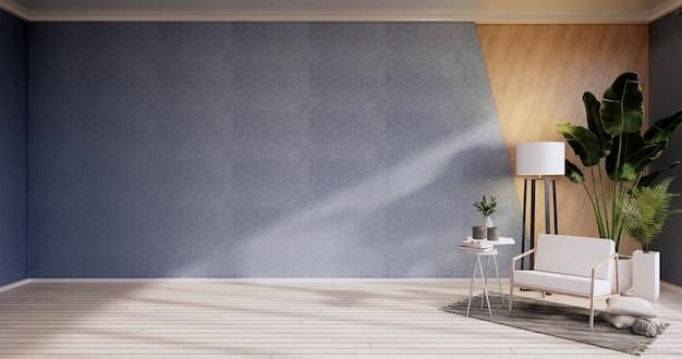 Интерьер, гостиная в современном минималистском стиле с креслом на стене голубого неба и деревянным полом. 3d визуализация