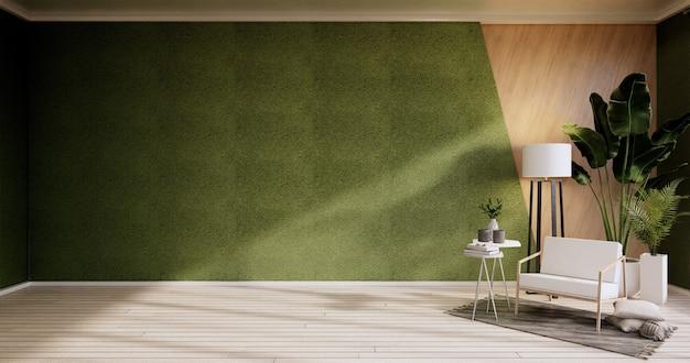 Интерьер, гостиная в современном минималистском стиле с креслом на зеленой стене и деревянным полом. 3d визуализация