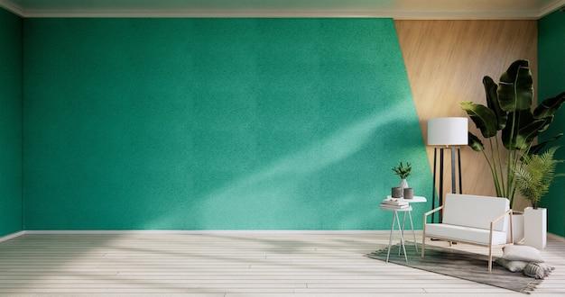 Интерьер, гостиная в современном минималистском стиле с креслом на мятой стене и деревянным полом. 3d визуализация