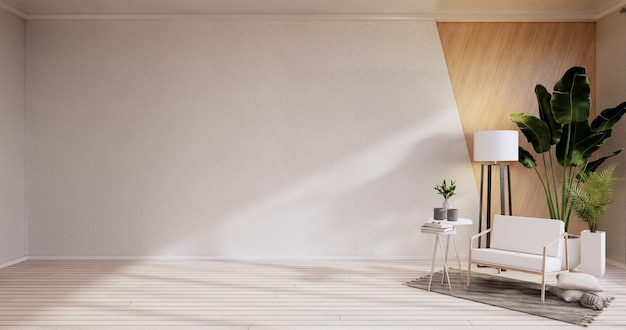 Интерьер, гостиная в современном минималистском стиле с креслом на белой стене и деревянным полом. 3d визуализация