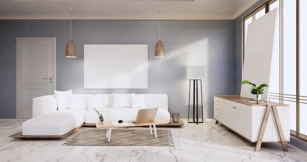 Интерьер, гостиная в современном минималистском стиле с диваном и шкафом, растениями, лампой на синей стене и полом из гранитной плитки. 3d визуализация