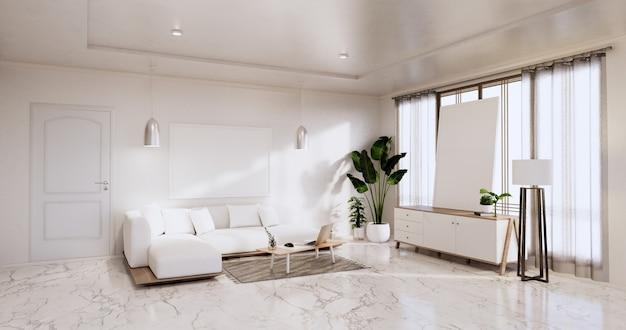Интерьер, гостиная в современном минималистском стиле с диваном и шкафом, растениями, лампой на белой стене и полом из гранитной плитки. 3d визуализация