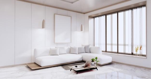 Интерьер, гостиная в современном минималистском стиле с диваном на белой стене и полом из гранитной плитки. 3d визуализация