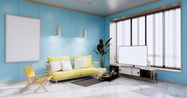 Интерьер, гостиная в современном минималистском стиле с желтым диваном и телевизором-шкафом на голубой стене и гранитной плиткой на полу. 3d-рендеринг